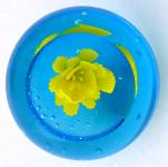 Těžítko, světle modré sklo se žlutým květem