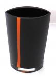Křišťálová a tmavá váza s oranžovým pruhem - Karel Malivánek