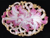 Biedermeierová růžová a zlacená mísa - Slavkov