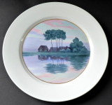 Míšeňský talíř s malovanou krajinou u řeky, s červánky