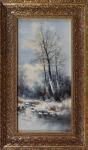 C. Leutner - Zimní krajina s postavou na břehu