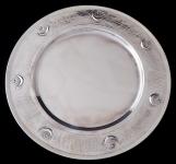 Stříbrný kulatý tác, hvězda s půlměsícem - Turecko