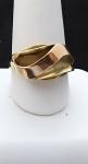 Zlatý prsten s vlnkou, žluté a růžové zlato