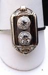 Art deko prsten s diamanty, bílé zlato - brilianty 0,58 ct