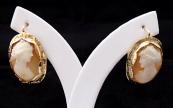 Zlaté náušnice s portréty dívek - kameje