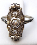 Art deco prsten, bílé zlato - 0,55 ct brilianty