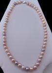 Náhrdelník, růžové sladkovodní perly - zlatý uzávěr