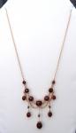Secesní zlatý náhrdelník s broušenými granáty