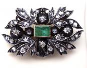 Starožitná brož, závěs s diamanty a smaragdem 0,75 ct