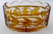 Mísa, broušené sklo - ambrové květy a linky