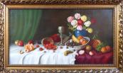 K. Müller - Zátiší s ovocem, mísou a růžemi