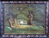 Romantická krajina s cestou a staletými duby