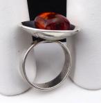 Stříbrný prsten s jantarem - Polsko 1963 - 1980