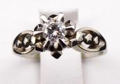 Art deko prstýnek, bílé zlato, briliant 0,15 ct