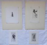 Naděžda Plíšková - Motýl, Mouchy, 2 x Ex libris