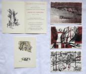 Čtyři barevné litografie, 1x zinkografie