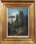 Anton Stutzinger - Jezdec na oslu v krajině s cypřiši