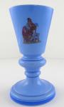Pohár, váza z modrého opakního skla