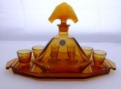 Karafa a skleničky, ambrové sklo - Stölzle