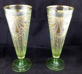 Párové secesní zlacené skleničky z uranového skla