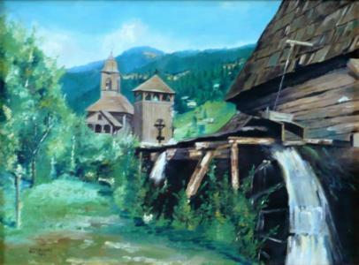 Dřevěný kostelík s vodním mlýnem