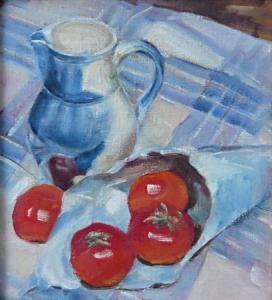 Zátiší s rajčaty a džbánem