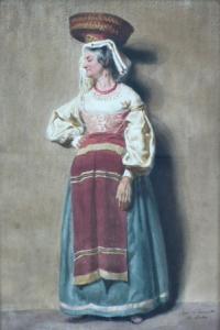 Žena s ošatkou na hlavě