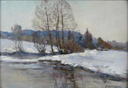 Na břehu zimní řeky