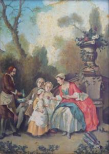 Nicolas Lancret - Dáma podávající dětem čokoládu v zahradě,kopie