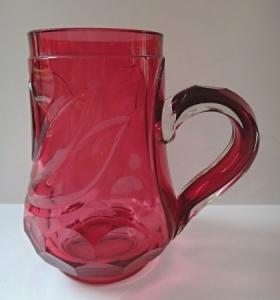 Džbánek z rosalínového skla, biedermeierový