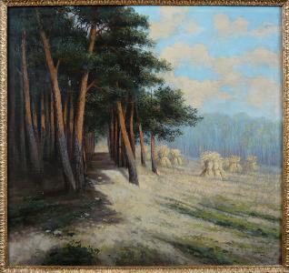 Josef Hajný ( Häring) - Pole se snopy u lesa (1).JPG