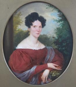 Franz Schrotzberg - Portrét dámy v červených šatech (2).JPG