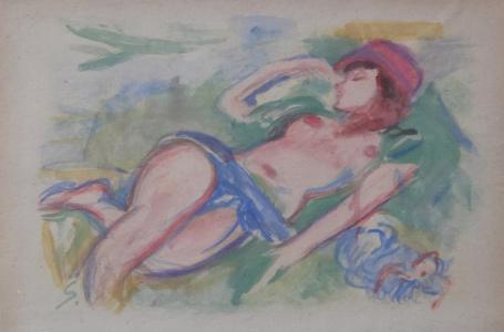 Ležící polonahá dívka v klobouku (2).JPG