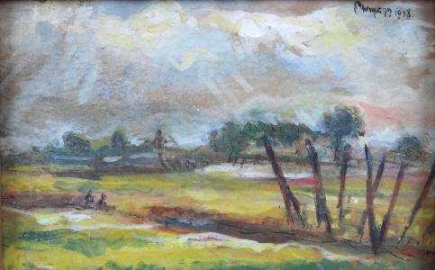 Alois Pitermann - Krajina se stromy a sedícími postavami (2).JPG