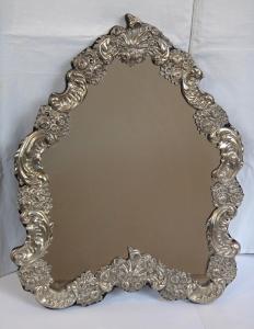 Stříbrné stolní zrcadlo - Pozdní Biedermeier, Vídeň 1853 (1).JPG