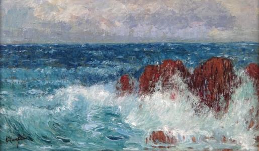 Karel Langer - Mořské vlny s útesy (2).JPG
