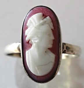Stříbrný prstýnek s růžovou kamejí (1).JPG