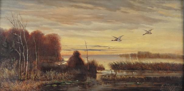 František ( Franz ) Schilhabl - Letící kachny, nad rákosím (2).JPG