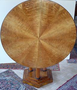 Kulatý jasanový salonní stůl, sklopný - biedermeier (1).JPG
