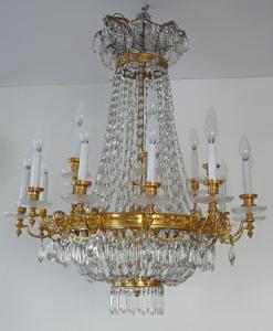 Luxusní lustr ze zlaceného bronzu, s broušenými ověsky (1).JPG