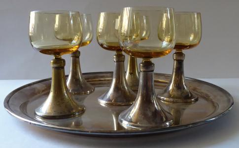 Postříbřený podnos a šest skleniček - Sandrik (1).JPG