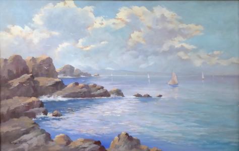 František Sylva Toman - Mořské pobřeží s plachetnicemi (2).JPG