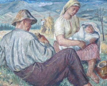 Karel Skála - Odpočívající rodina při žních (2).JPG