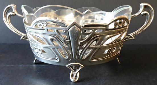 Secesní stříbrná miska, se skleněnou vložkou (1).JPG
