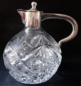 Broušený skleněný džbánek, se stříbrem - Theodor Müller, Weimar (1).JPG