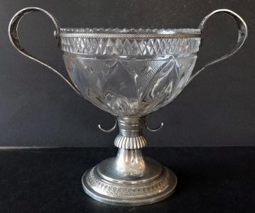 Empírová stříbrná miska, s broušeným sklem - Berlín (1).JPG