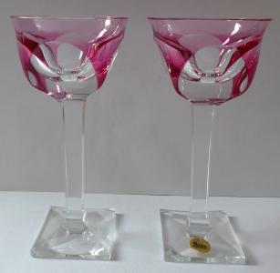 Pár skleniček na hranaté nožce a patce, růžové - Moser (1).JPG
