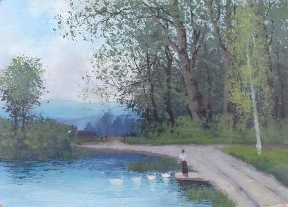 Dívka s labutěmi u jezírka - Střední Evropa 1880 - 1900 (2).JPG
