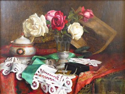 Franz Krischke - Zátiší s růžemi, krajkou a šperkovnicí (2).JPG