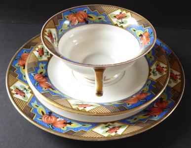 Šálek s dezertním talířkem, art deko - Königszelt, Německo (1).JPG